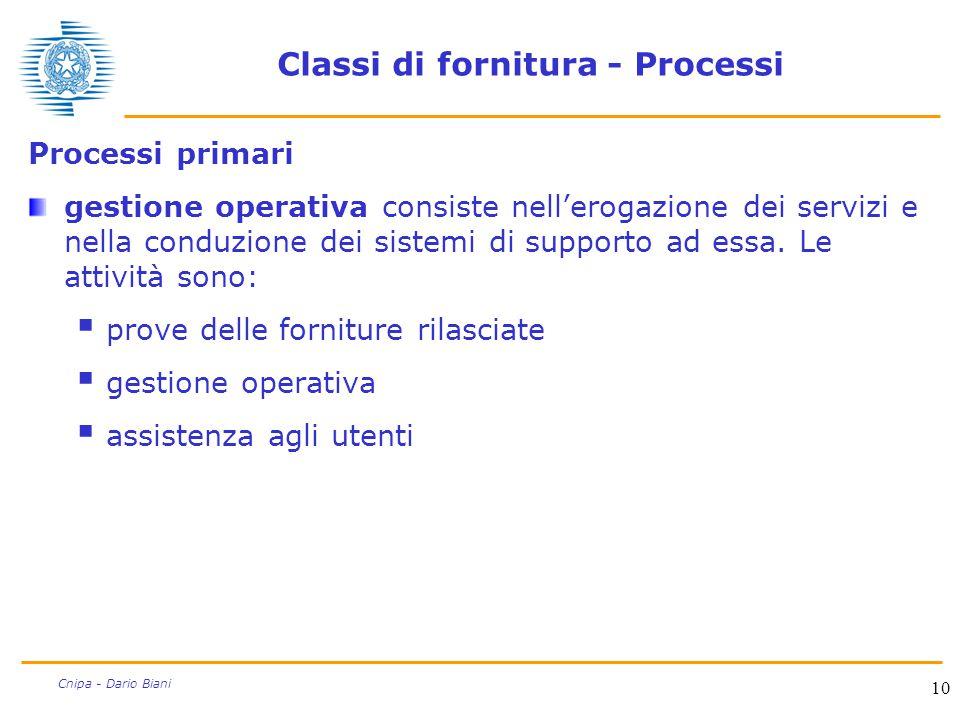 10 Cnipa - Dario Biani Classi di fornitura - Processi Processi primari gestione operativa consiste nell'erogazione dei servizi e nella conduzione dei