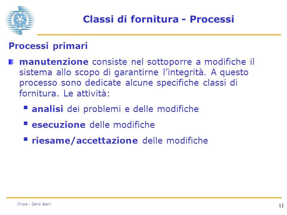 11 Cnipa - Dario Biani Classi di fornitura - Processi Processi primari manutenzione consiste nel sottoporre a modifiche il sistema allo scopo di garan