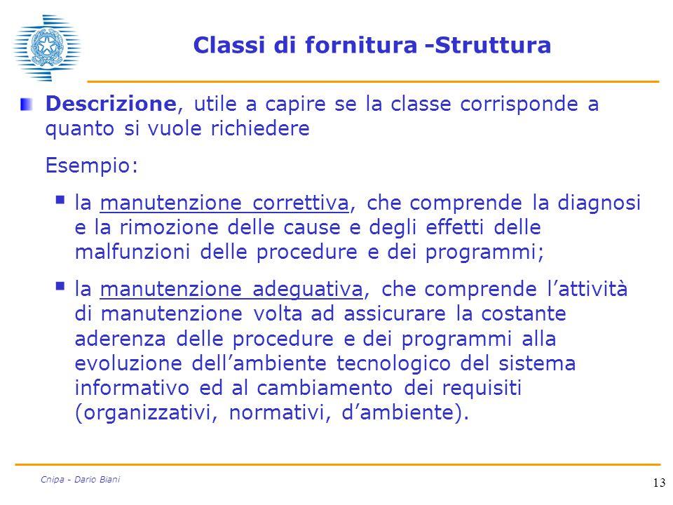 13 Cnipa - Dario Biani Classi di fornitura -Struttura Descrizione, utile a capire se la classe corrisponde a quanto si vuole richiedere Esempio:  la