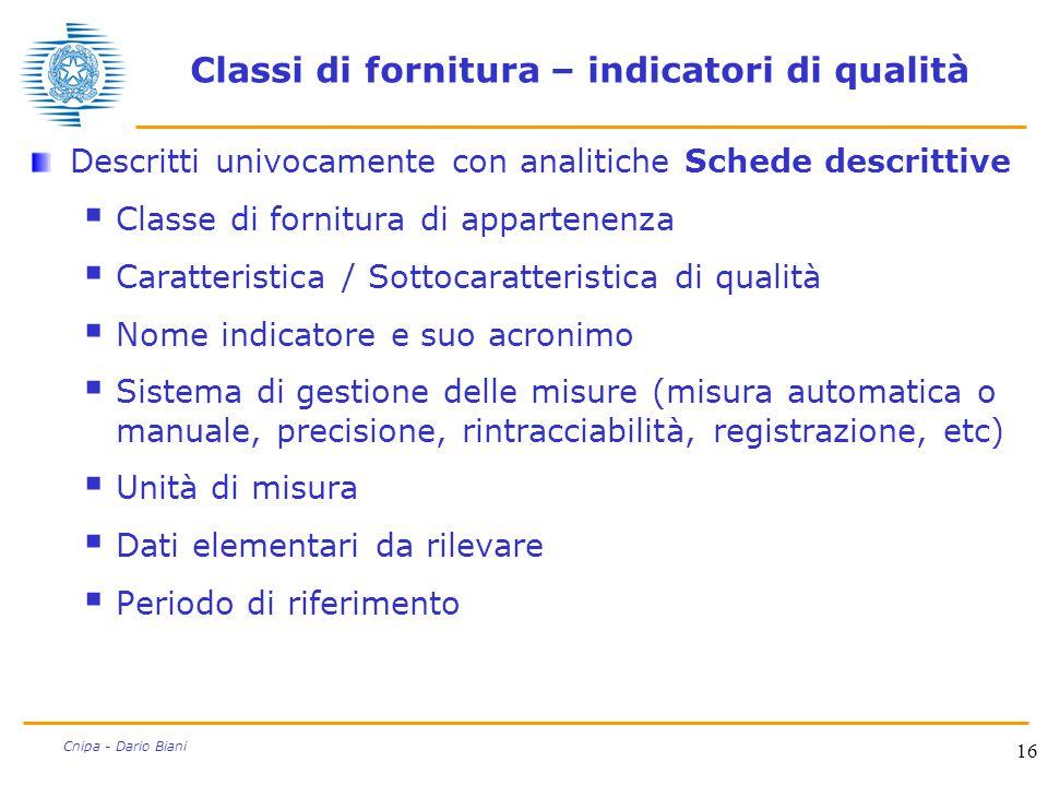 16 Cnipa - Dario Biani Classi di fornitura – indicatori di qualità Descritti univocamente con analitiche Schede descrittive  Classe di fornitura di a