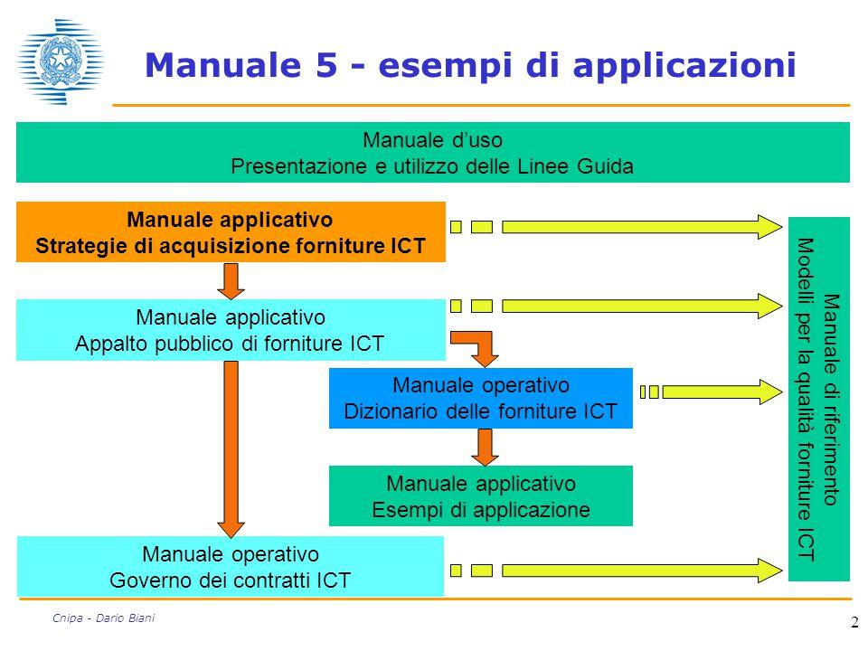 2 Cnipa - Dario Biani Manuale operativo Governo dei contratti ICT Manuale d'uso Presentazione e utilizzo delle Linee Guida Manuale applicativo Strateg