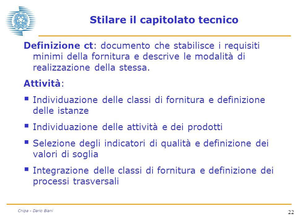 22 Cnipa - Dario Biani Stilare il capitolato tecnico Definizione ct: documento che stabilisce i requisiti minimi della fornitura e descrive le modalit