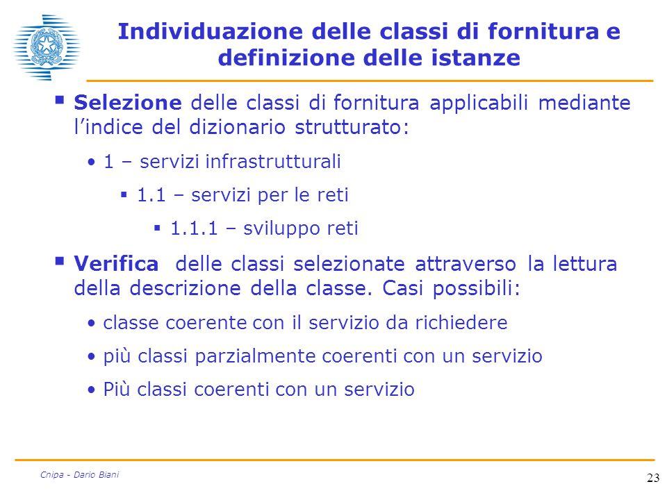 23 Cnipa - Dario Biani Individuazione delle classi di fornitura e definizione delle istanze  Selezione delle classi di fornitura applicabili mediante