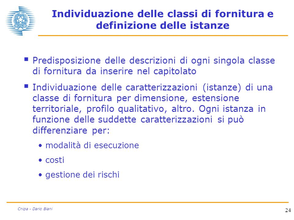 24 Cnipa - Dario Biani Individuazione delle classi di fornitura e definizione delle istanze  Predisposizione delle descrizioni di ogni singola classe