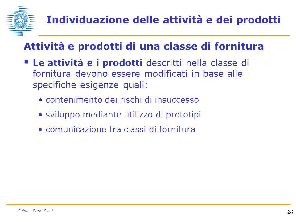 26 Cnipa - Dario Biani Individuazione delle attività e dei prodotti Attività e prodotti di una classe di fornitura  Le attività e i prodotti descritt