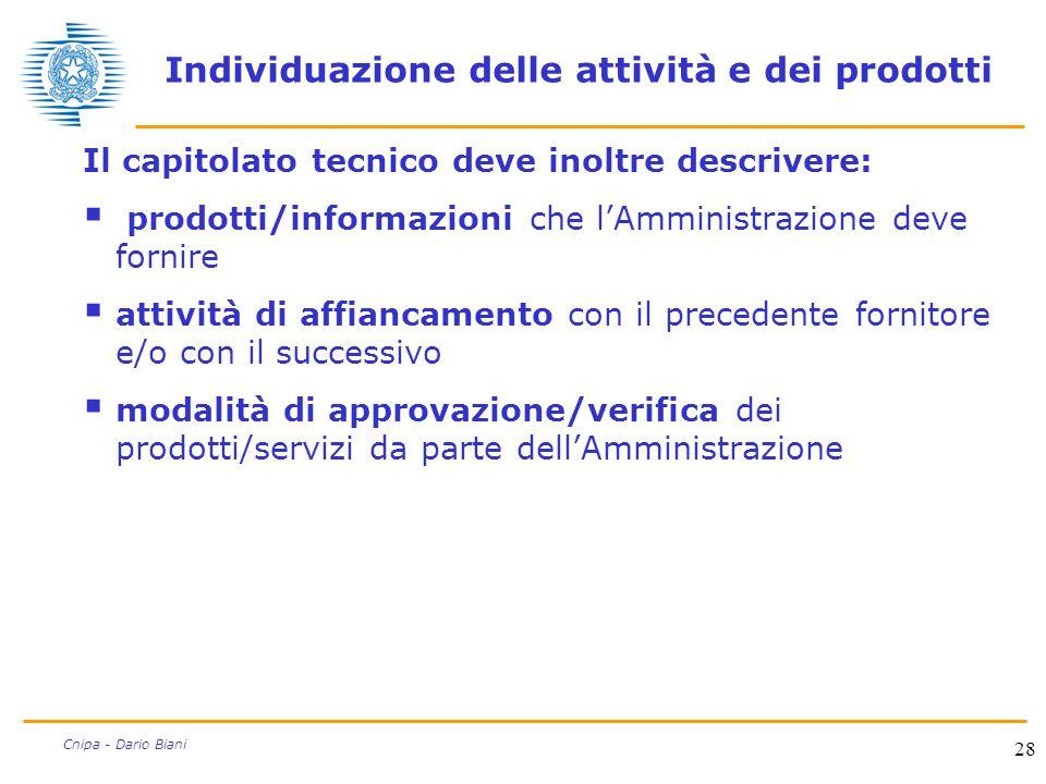 28 Cnipa - Dario Biani Individuazione delle attività e dei prodotti Il capitolato tecnico deve inoltre descrivere:  prodotti/informazioni che l'Ammin