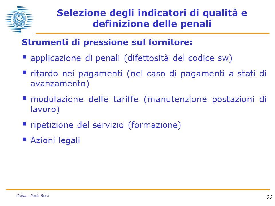 33 Cnipa - Dario Biani Selezione degli indicatori di qualità e definizione delle penali Strumenti di pressione sul fornitore:  applicazione di penali