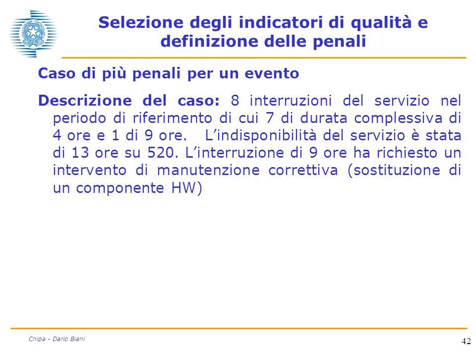 42 Cnipa - Dario Biani Selezione degli indicatori di qualità e definizione delle penali Caso di più penali per un evento Descrizione del caso: 8 inter