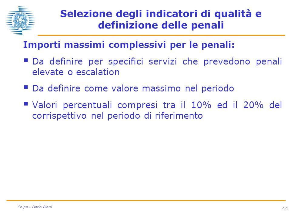 44 Cnipa - Dario Biani Selezione degli indicatori di qualità e definizione delle penali Importi massimi complessivi per le penali:  Da definire per s