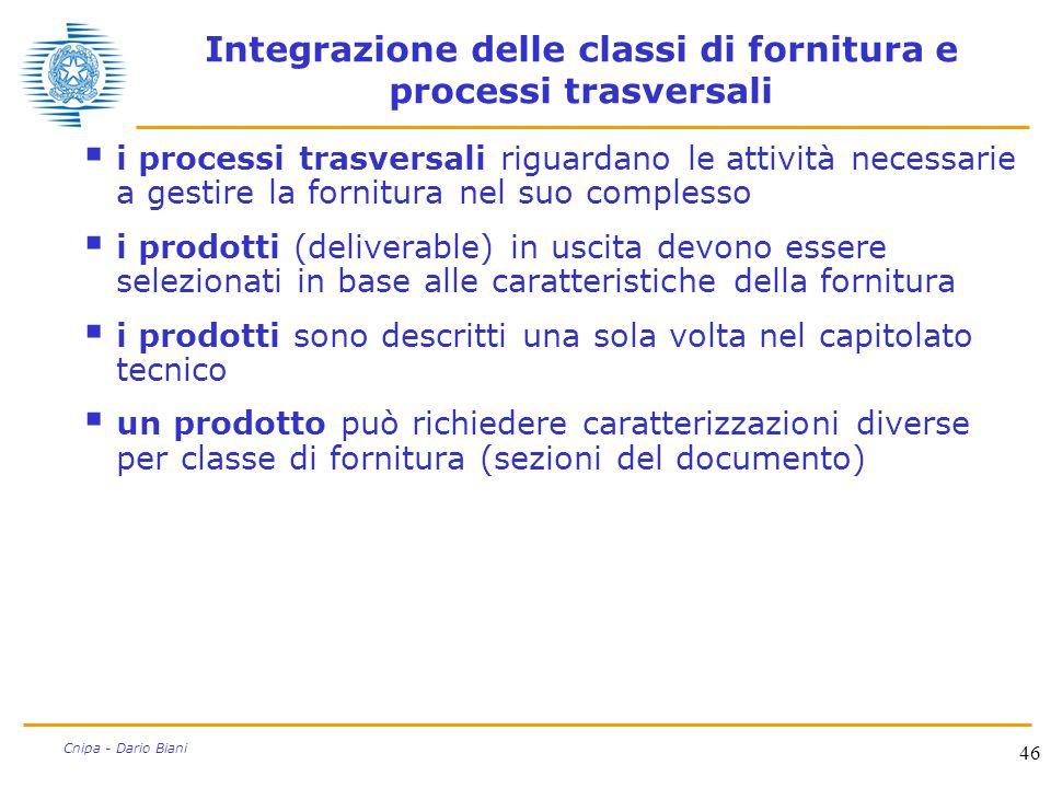 46 Cnipa - Dario Biani Integrazione delle classi di fornitura e processi trasversali  i processi trasversali riguardano le attività necessarie a gest
