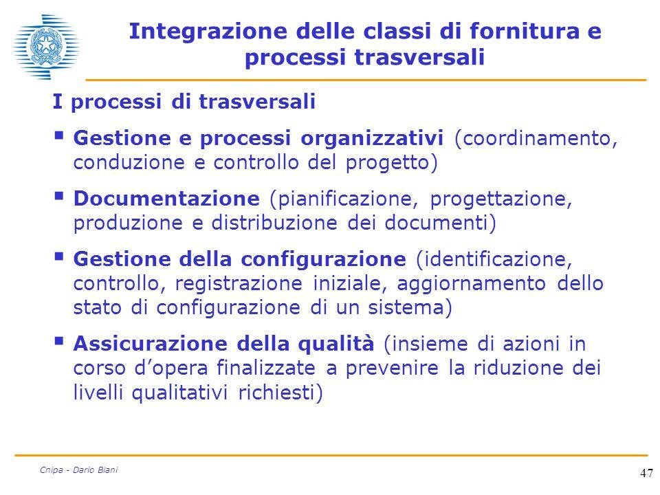 47 Cnipa - Dario Biani Integrazione delle classi di fornitura e processi trasversali I processi di trasversali  Gestione e processi organizzativi (co