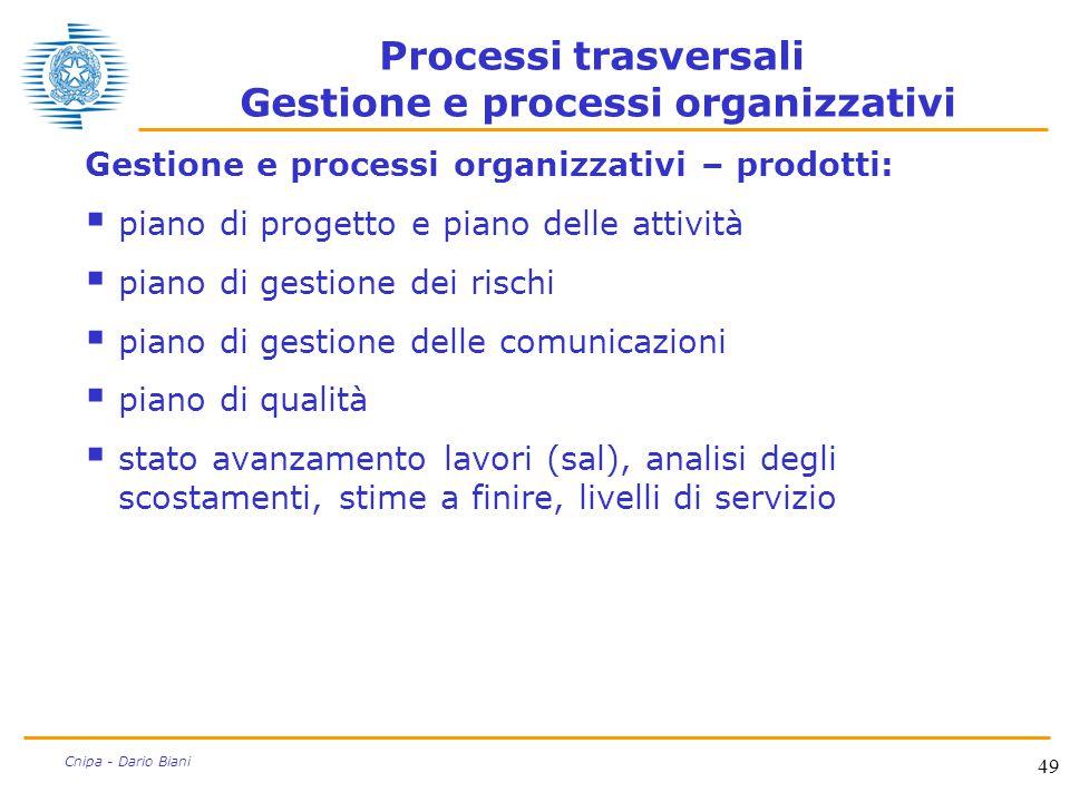 49 Cnipa - Dario Biani Processi trasversali Gestione e processi organizzativi Gestione e processi organizzativi – prodotti:  piano di progetto e pian