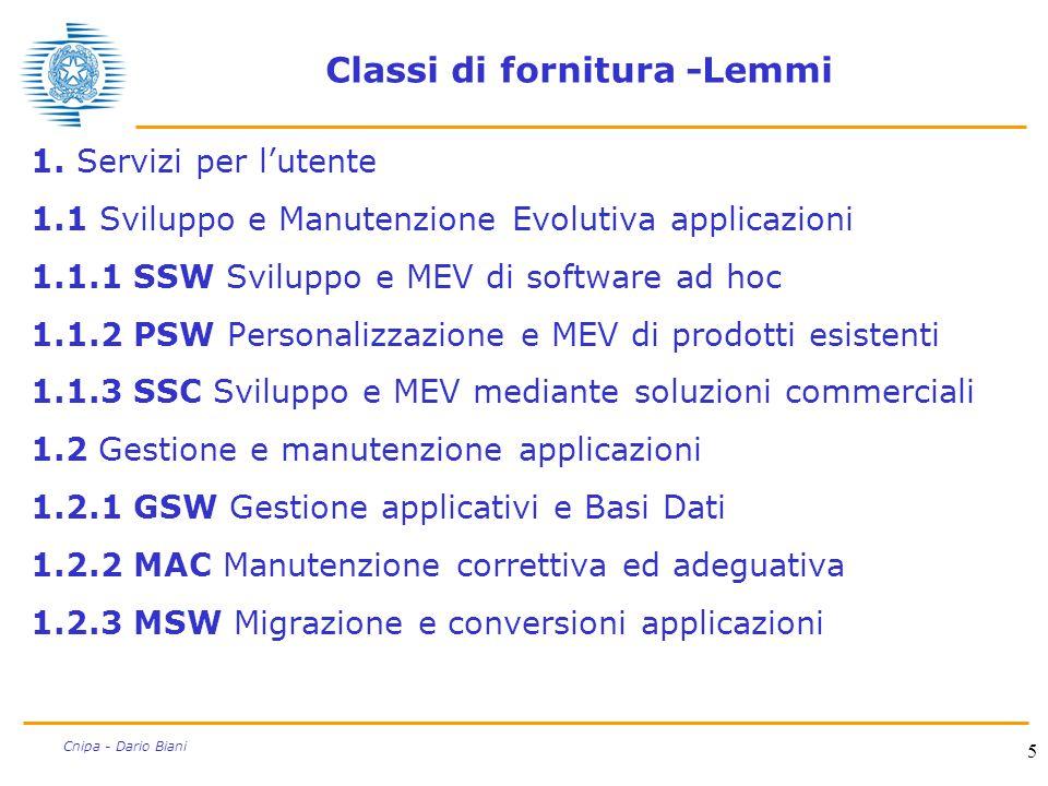 5 Cnipa - Dario Biani Classi di fornitura -Lemmi 1. Servizi per l'utente 1.1 Sviluppo e Manutenzione Evolutiva applicazioni 1.1.1 SSW Sviluppo e MEV d