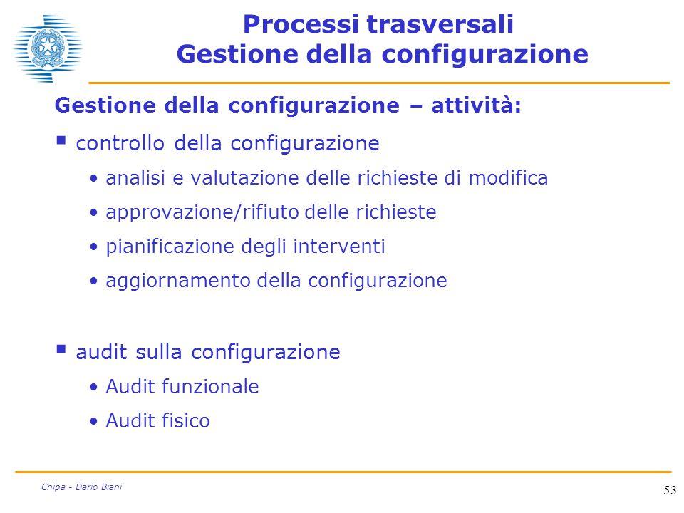 53 Cnipa - Dario Biani Processi trasversali Gestione della configurazione Gestione della configurazione – attività:  controllo della configurazione a