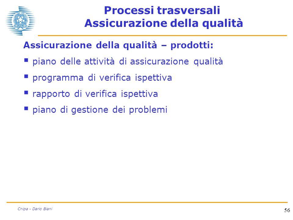 56 Cnipa - Dario Biani Processi trasversali Assicurazione della qualità Assicurazione della qualità – prodotti:  piano delle attività di assicurazion