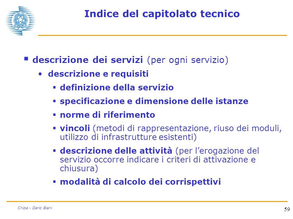 59 Cnipa - Dario Biani Indice del capitolato tecnico  descrizione dei servizi (per ogni servizio) descrizione e requisiti  definizione della servizi