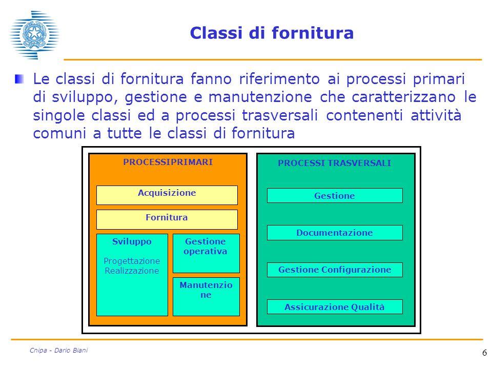 6 Cnipa - Dario Biani Classi di fornitura Le classi di fornitura fanno riferimento ai processi primari di sviluppo, gestione e manutenzione che caratt