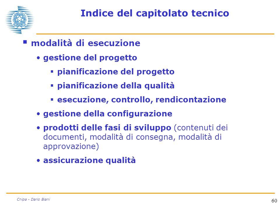 60 Cnipa - Dario Biani Indice del capitolato tecnico  modalità di esecuzione gestione del progetto  pianificazione del progetto  pianificazione del