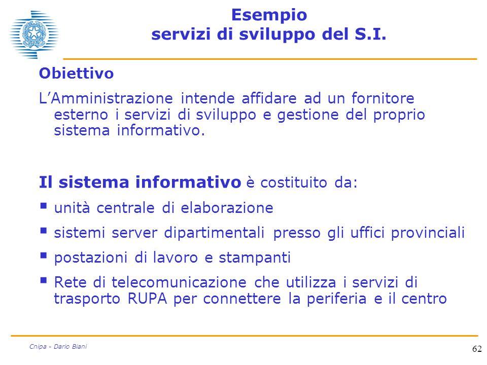 62 Cnipa - Dario Biani Esempio servizi di sviluppo del S.I. Obiettivo L'Amministrazione intende affidare ad un fornitore esterno i servizi di sviluppo