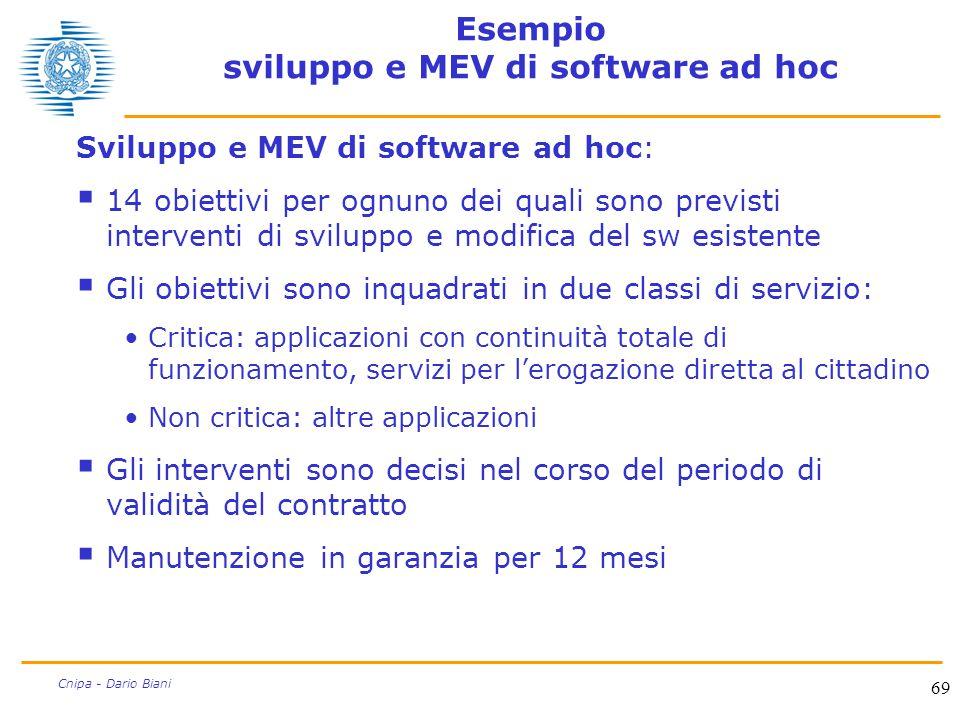 69 Cnipa - Dario Biani Esempio sviluppo e MEV di software ad hoc Sviluppo e MEV di software ad hoc:  14 obiettivi per ognuno dei quali sono previsti
