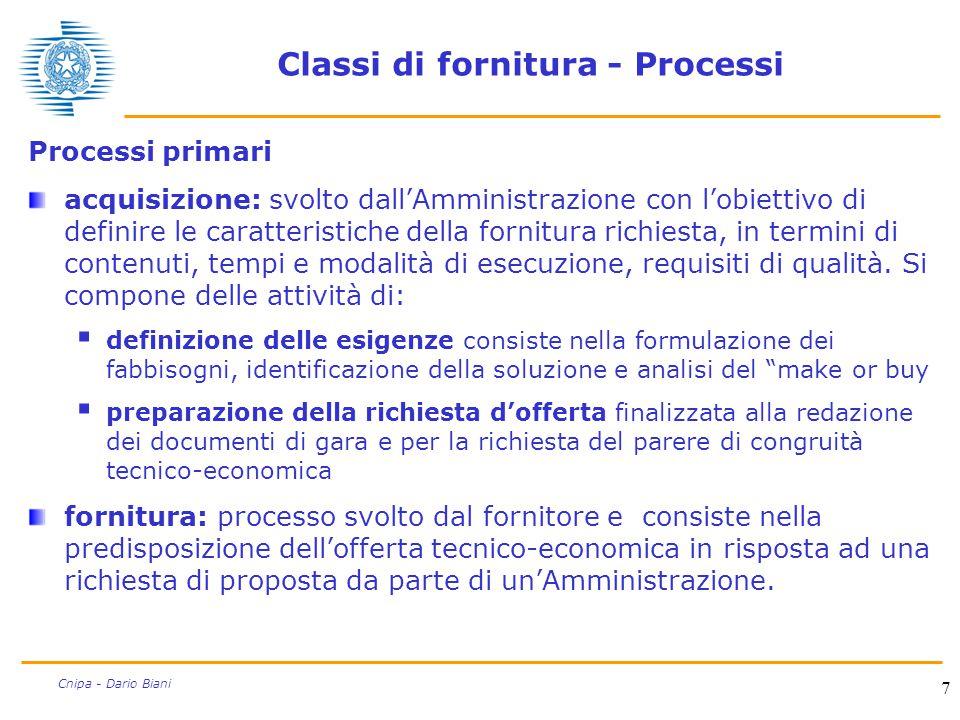 7 Cnipa - Dario Biani Classi di fornitura - Processi Processi primari acquisizione: svolto dall'Amministrazione con l'obiettivo di definire le caratte