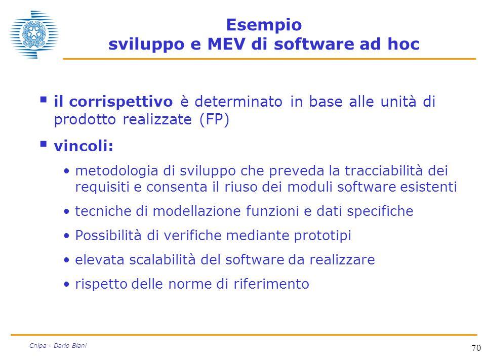 70 Cnipa - Dario Biani Esempio sviluppo e MEV di software ad hoc  il corrispettivo è determinato in base alle unità di prodotto realizzate (FP)  vin