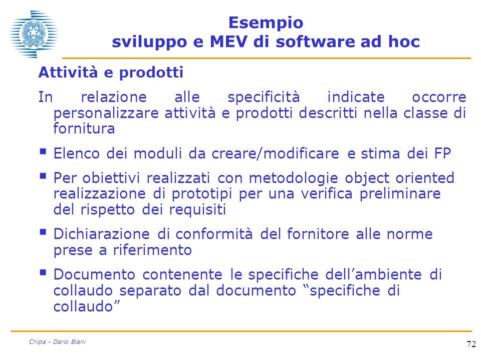 72 Cnipa - Dario Biani Esempio sviluppo e MEV di software ad hoc Attività e prodotti In relazione alle specificità indicate occorre personalizzare att