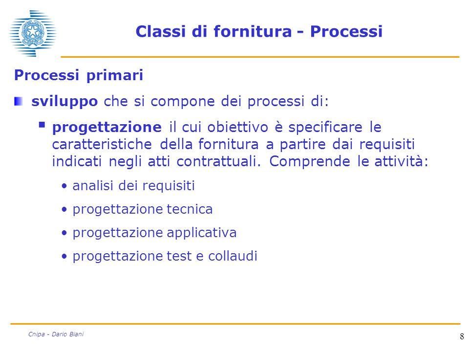 8 Cnipa - Dario Biani Classi di fornitura - Processi Processi primari sviluppo che si compone dei processi di:  progettazione il cui obiettivo è spec