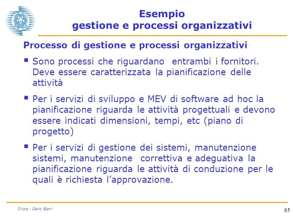 85 Cnipa - Dario Biani Esempio gestione e processi organizzativi Processo di gestione e processi organizzativi  Sono processi che riguardano entrambi