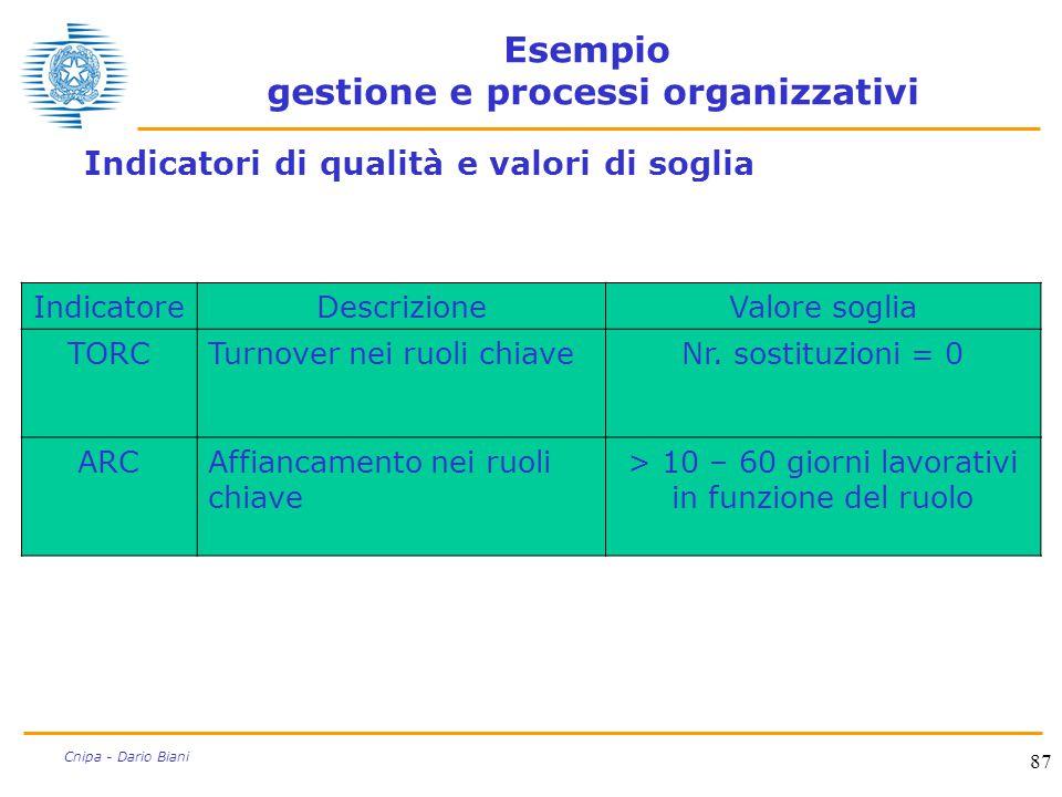 87 Cnipa - Dario Biani Esempio gestione e processi organizzativi Indicatori di qualità e valori di soglia IndicatoreDescrizioneValore soglia TORCTurno