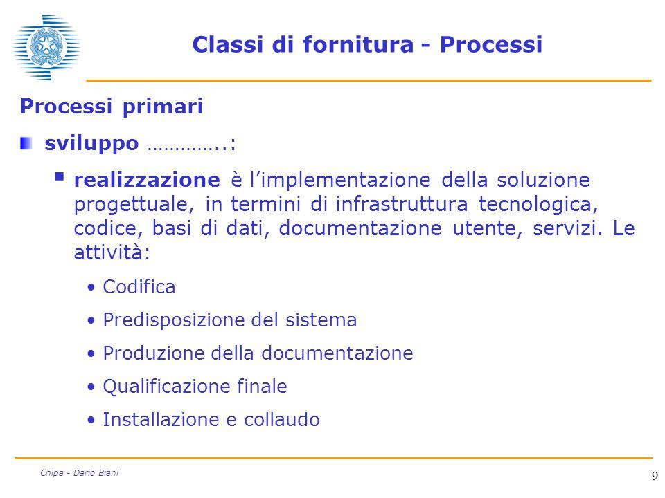 9 Cnipa - Dario Biani Classi di fornitura - Processi Processi primari sviluppo …………..:  realizzazione è l'implementazione della soluzione progettuale