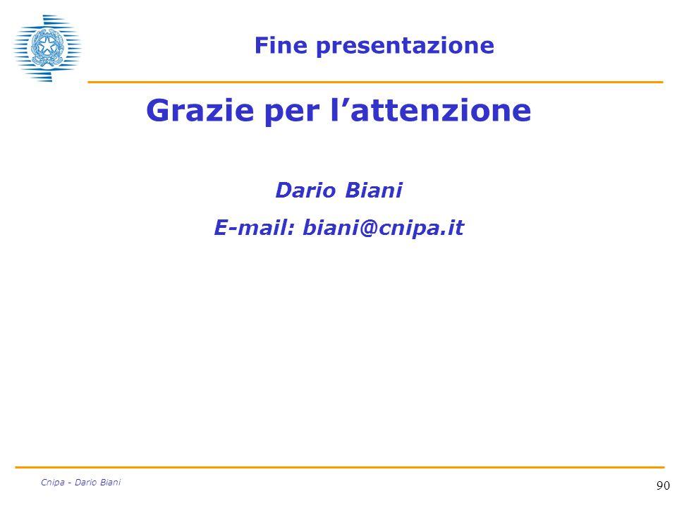 90 Cnipa - Dario Biani Fine presentazione Grazie per l'attenzione Dario Biani E-mail: biani@cnipa.it