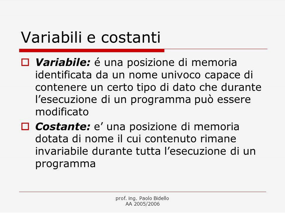 prof. ing. Paolo Bidello AA 2005/2006 Variabili e costanti  Variabile: é una posizione di memoria identificata da un nome univoco capace di contenere