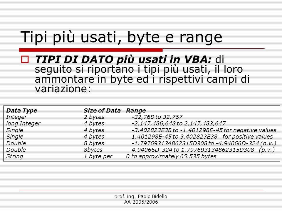 prof. ing. Paolo Bidello AA 2005/2006 Tipi più usati, byte e range Data TypeSize of DataRange Integer2 bytes-32,768 to 32,767 long Integer4 bytes-2,14