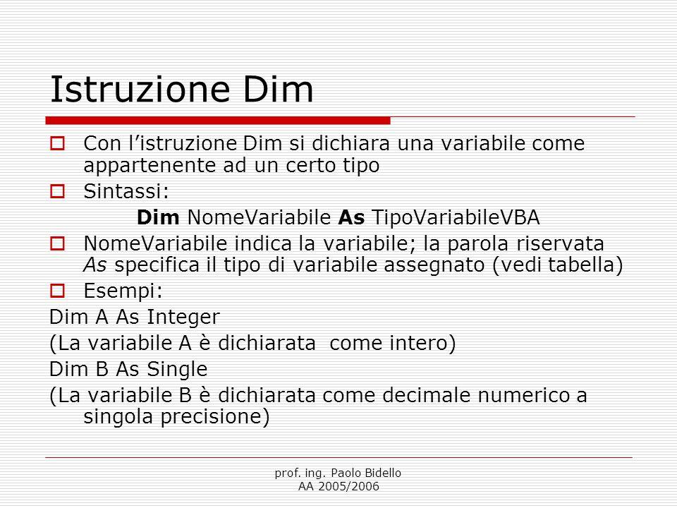 prof. ing. Paolo Bidello AA 2005/2006 Istruzione Dim  Con l'istruzione Dim si dichiara una variabile come appartenente ad un certo tipo  Sintassi: D