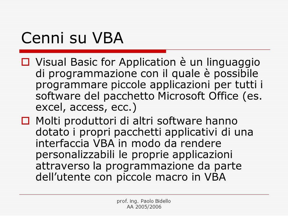 prof. ing. Paolo Bidello AA 2005/2006 Cenni su VBA  Visual Basic for Application è un linguaggio di programmazione con il quale è possibile programma