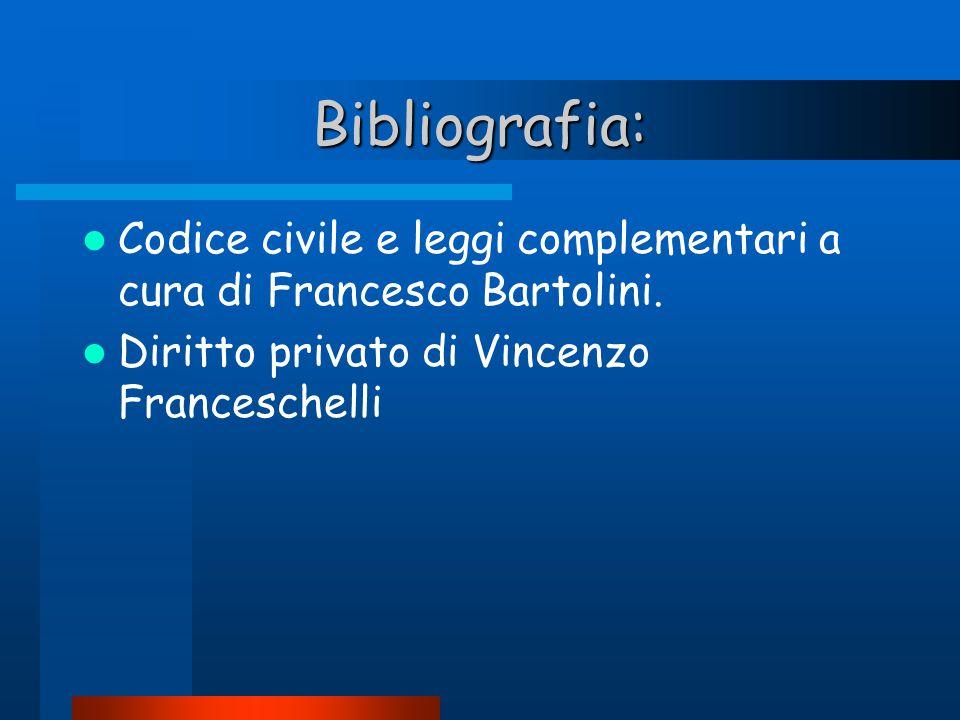 Bibliografia: Codice civile e leggi complementari a cura di Francesco Bartolini. Diritto privato di Vincenzo Franceschelli
