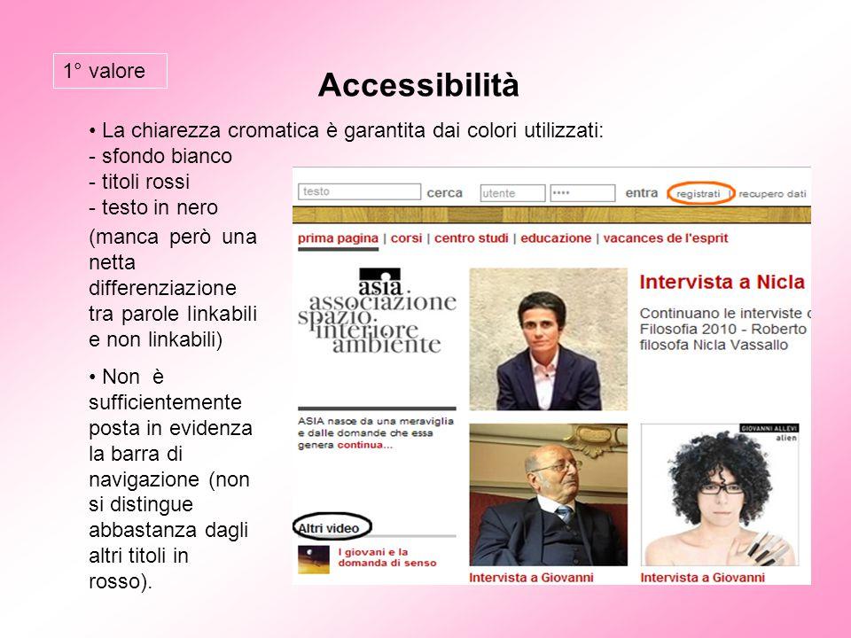 Accessibilità La chiarezza cromatica è garantita dai colori utilizzati: - sfondo bianco - titoli rossi - testo in nero (manca però una netta differenz