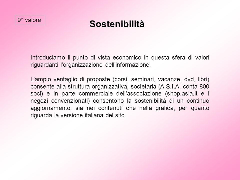 Sostenibilità Introduciamo il punto di vista economico in questa sfera di valori riguardanti l'organizzazione dell'informazione. L'ampio ventaglio di
