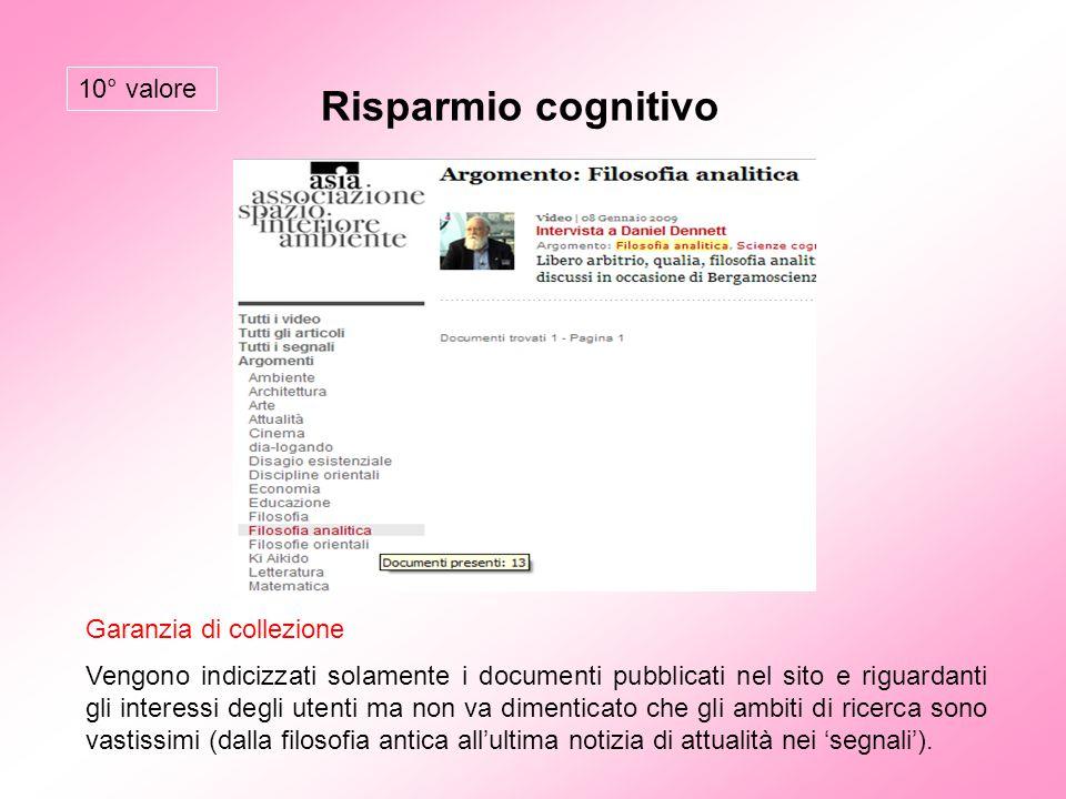 Risparmio cognitivo Garanzia di collezione Vengono indicizzati solamente i documenti pubblicati nel sito e riguardanti gli interessi degli utenti ma n