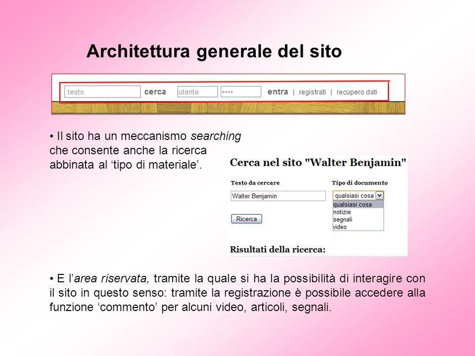 Architettura generale del sito Il sito ha un meccanismo searching che consente anche la ricerca abbinata al 'tipo di materiale'. E l'area riservata, t