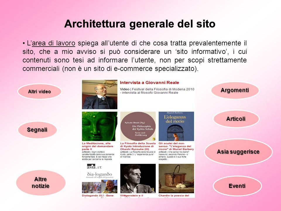 Architettura generale del sito L'area di lavoro spiega all'utente di che cosa tratta prevalentemente il sito, che a mio avviso si può considerare un '