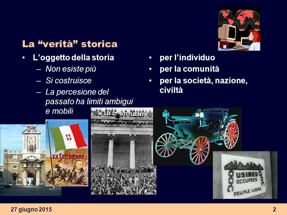 27 giugno 20152 La verità storica L'oggetto della storia –Non esiste più –Si costruisce –La percesione del passato ha limiti ambigui e mobili per l'individuo per la comunità per la società, nazione, civiltà