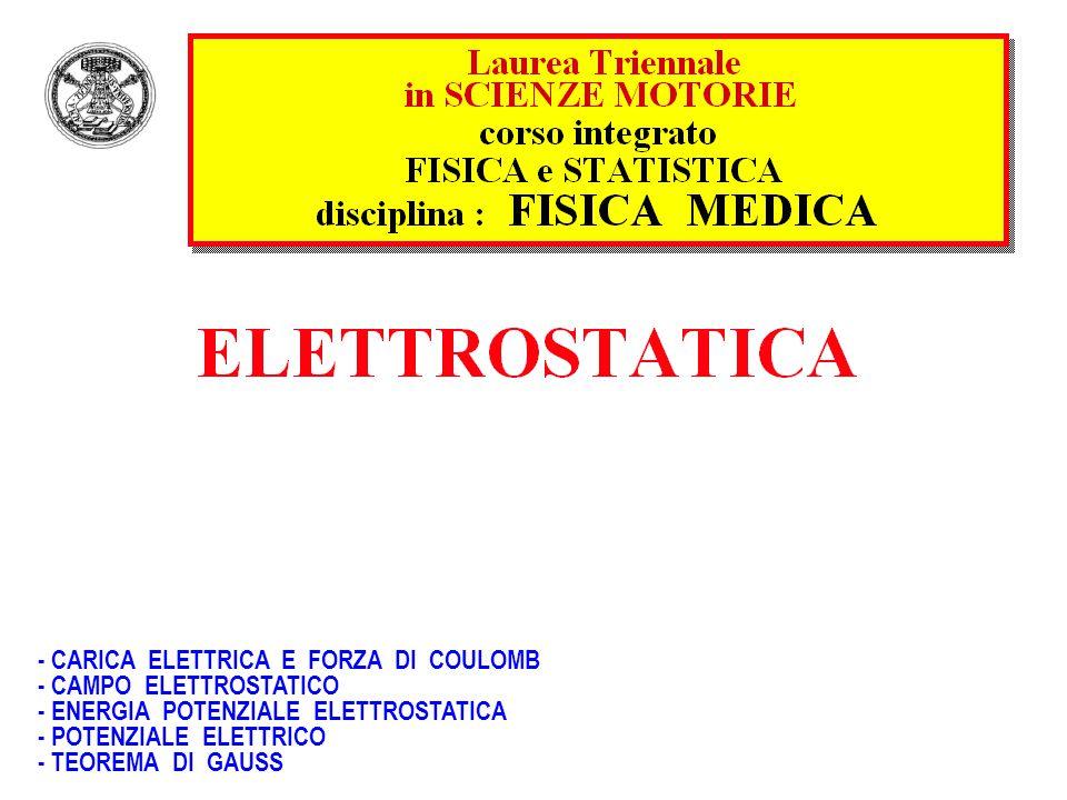 - CARICA ELETTRICA E FORZA DI COULOMB - CAMPO ELETTROSTATICO - ENERGIA POTENZIALE ELETTROSTATICA - POTENZIALE ELETTRICO - TEOREMA DI GAUSS