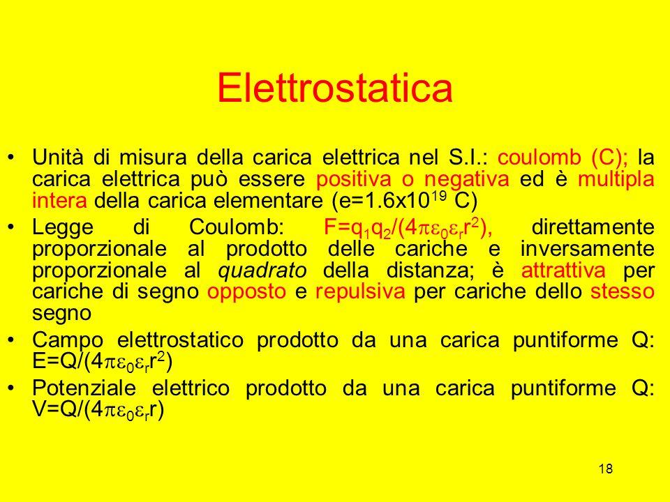 18 Elettrostatica Unità di misura della carica elettrica nel S.I.: coulomb (C); la carica elettrica può essere positiva o negativa ed è multipla inter