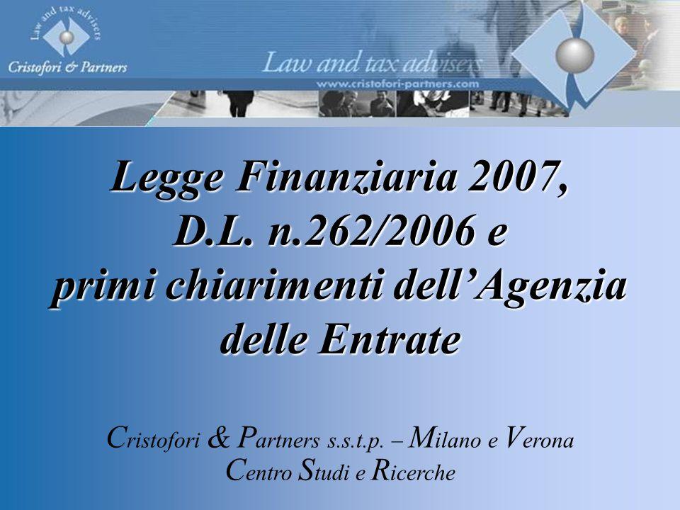 Legge Finanziaria 2007, D.L.