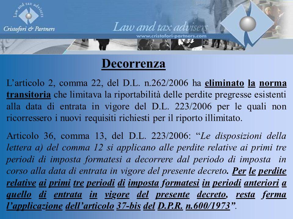 Decorrenza L'articolo 2, comma 22, del D.L.
