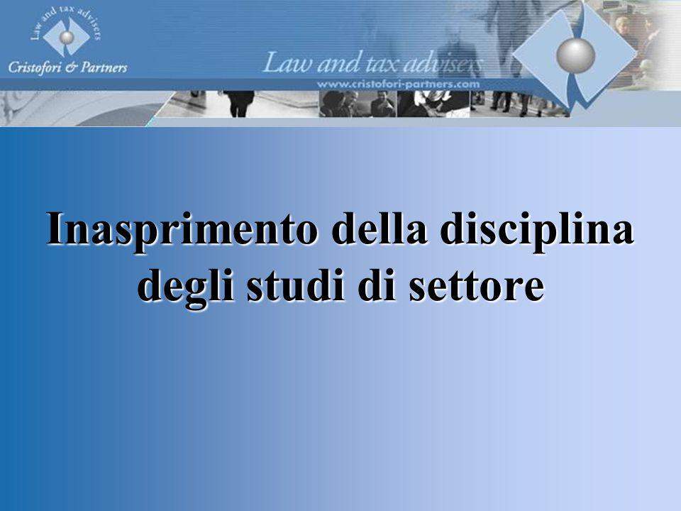Inasprimento della disciplina degli studi di settore