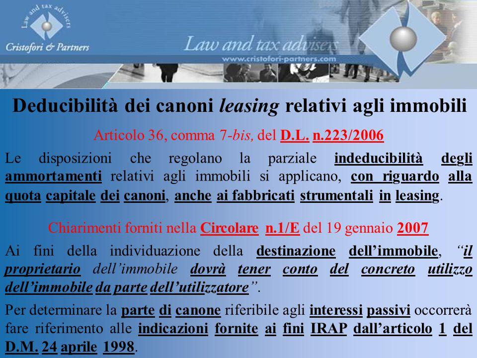 Deducibilità dei canoni leasing relativi agli immobili Articolo 36, comma 7-bis, del D.L.