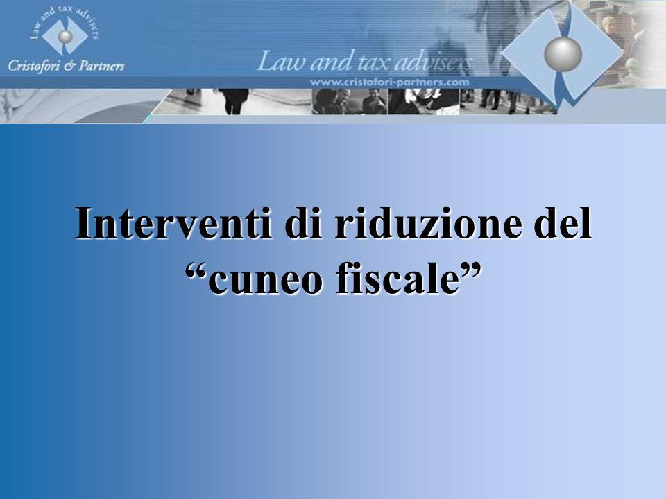 Interventi di riduzione del cuneo fiscale
